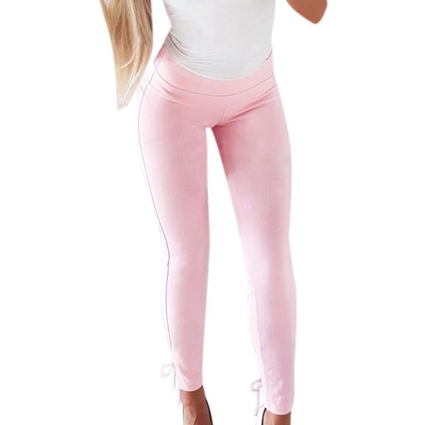 Hot Sale Slim Solid Color Tie Casual Pencil Pants white S