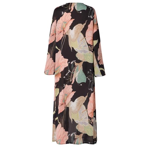 Kardigan tryckt Chiffong Kimono Cardigan Beach Cover svart & rosa L