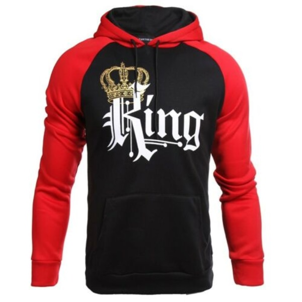 King Queen Couples Matching Long Sleeve Hooded Hoodie Casual Top Queen M