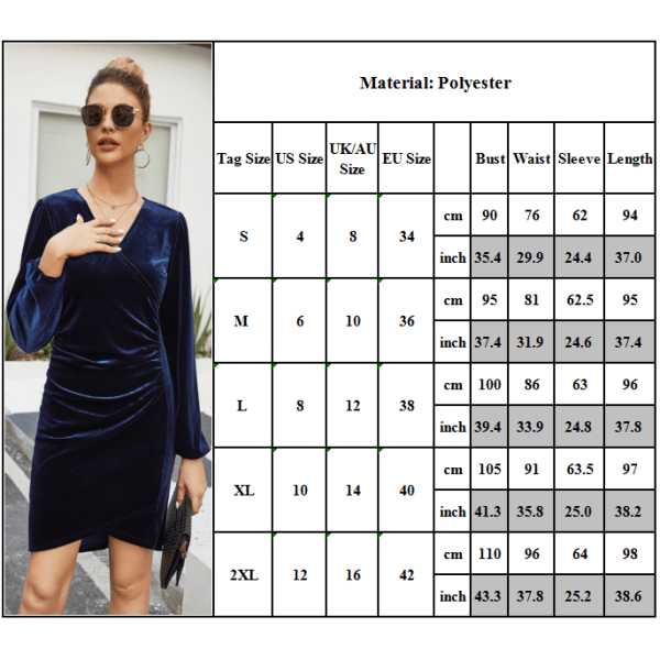 Korea Style V-ringad sammetsklänning för kvinnor