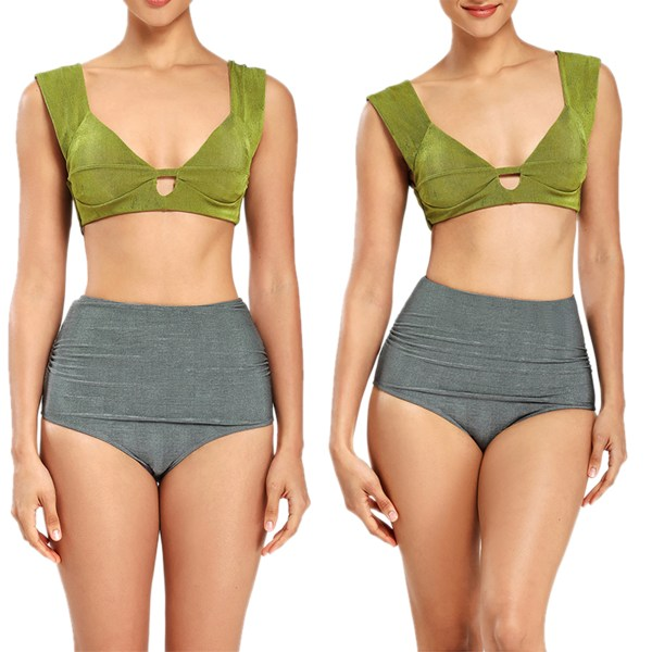 Kvinnor Bikini Split High Waist Baddräkt