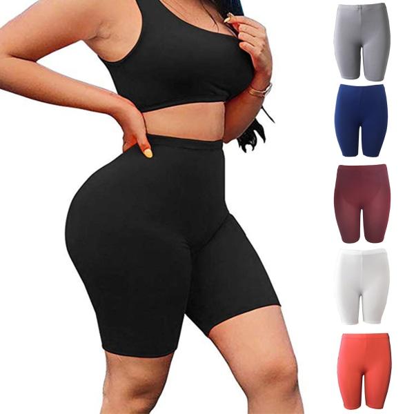 Kvinnor Buttocks Quick Dry Hips Yoga Shorts Red M
