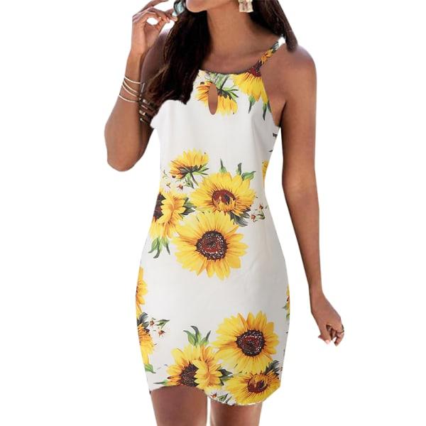 Kvinnor Halter Strap Sleeveless Shift Dress White Sunflower L