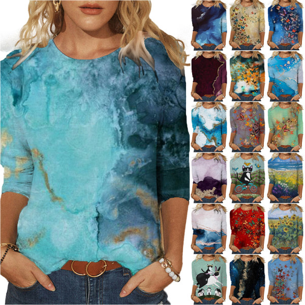 Kvinnor Oil Painting Print Three-Quarter Sleeve Sweater Top As pics16 3XL