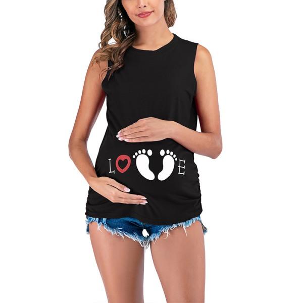 Kvinnor Sleeveless Maternity Preganat T-shirt