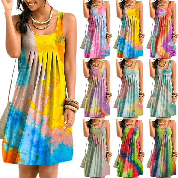 Kvinnor Sleeveless Tie-dye Print Swing Skirt Pink Blue 5XL