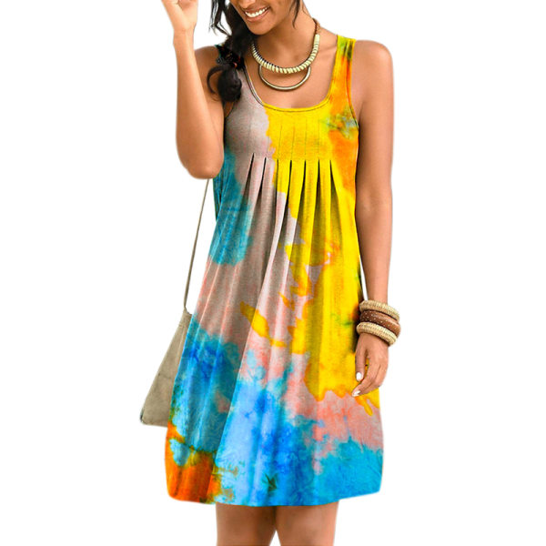 Kvinnor Sleeveless Tie-dye Print Swing Skirt Blue Yellow 3XL