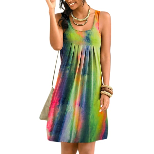 Kvinnor Sleeveless Tie-dye Print Swing Skirt Green Pink L