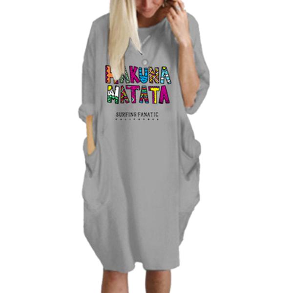 Kvinnor långärmad klänning med rak huva
