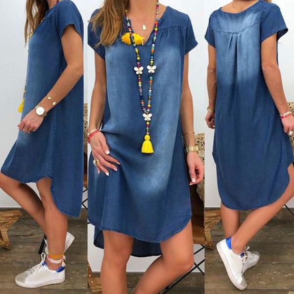 Kvinnor V-neck Short Sleeve Denim Dress Light Blue M