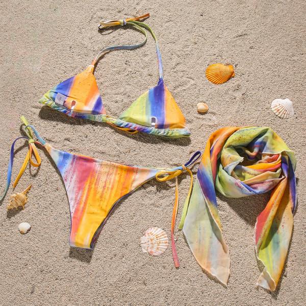 Kvinnors 3-delade Tie Dye Camisole Knot kjol Bikini Set baddräkt gul S