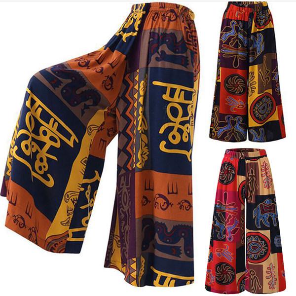 Women's Floral Print Pants Casual Loose Jogging Pants Yoga Pants RED 5XL