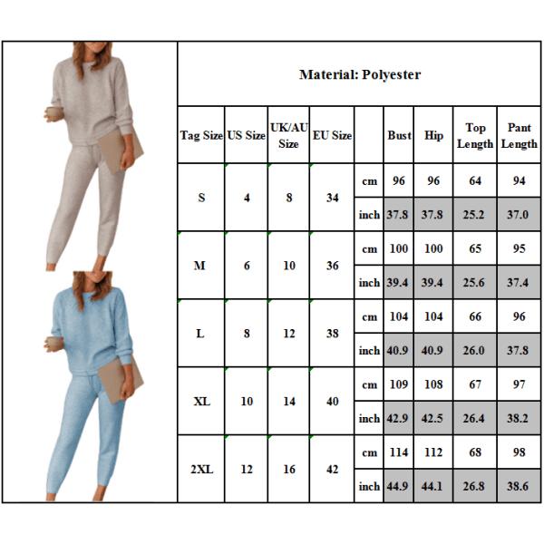 Kvinnors enfärgad tvådelad långärmad topp med rund hal och byxor