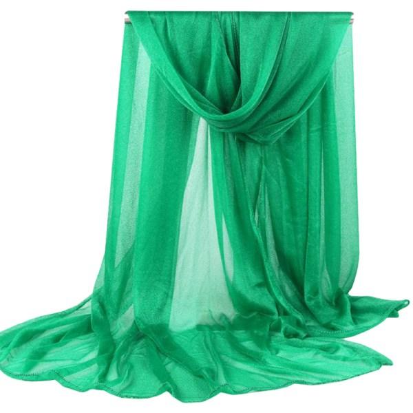 Kvinnors enfärgade halsduk halsduk sjal mode enkel halsduk dark green 165*85cm