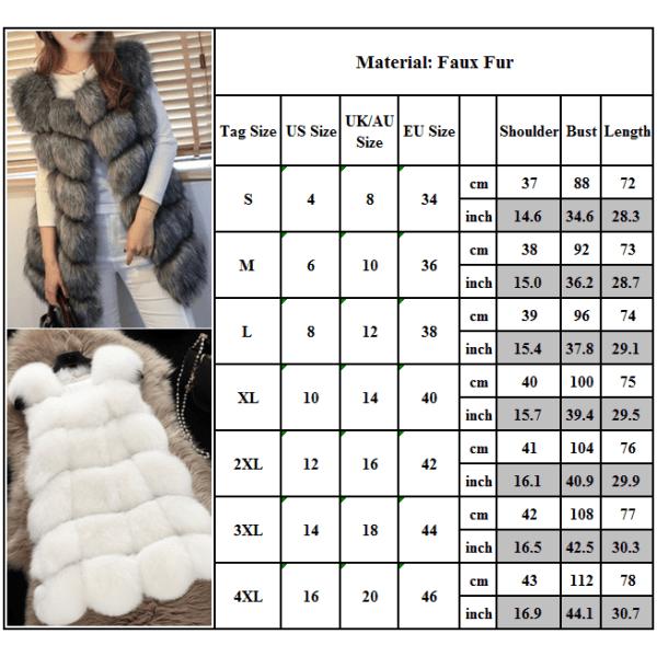 Kvinnors faux päls sömmar väst kort västrock ärmlös jacka ljusgrå XL
