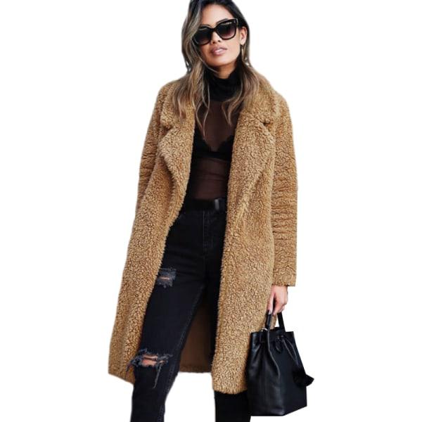Kvinnors kavaj med öppen front lång koftajacka Varm vinterjacka kamel XL