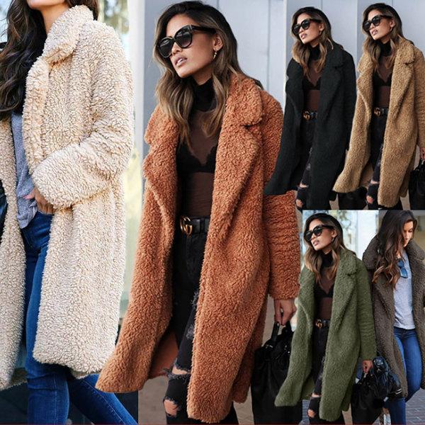 Kvinnors kavaj med öppen front lång koftajacka Varm vinterjacka karamellfärg S