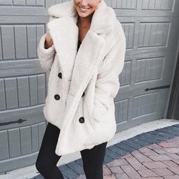 Kvinnors kostymkrage i ullrock med dubbelknäppt kavaj krämvit L