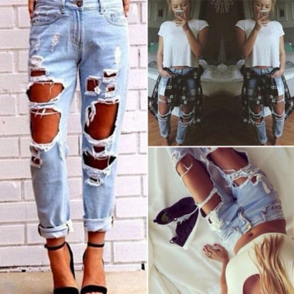Kvinnors ljusblå rippade jeans, mid-rise skinny casual jeans ljusblå M