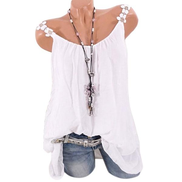 Lace Strap Kvinnor Ruffle Hem Sleeveless Top White 3XL