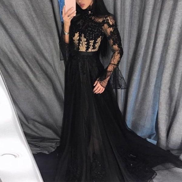 Ladies Lace Mesh Sexiga svarta klänningar Elegant