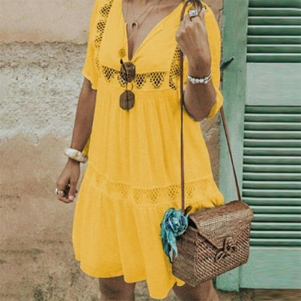 Dam i plusstorlek ihålig casual klänning