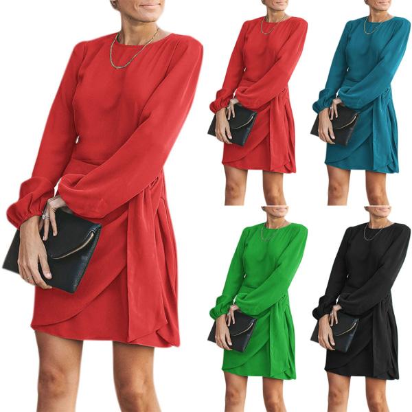 Lady Fashion Bow-Knot Tunika långärmad festklänning