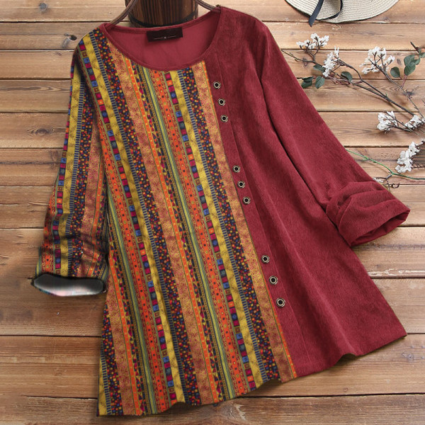 Lady Fashion Vertical Stripe Print Seven-point Sleeve Tops Red 3XL