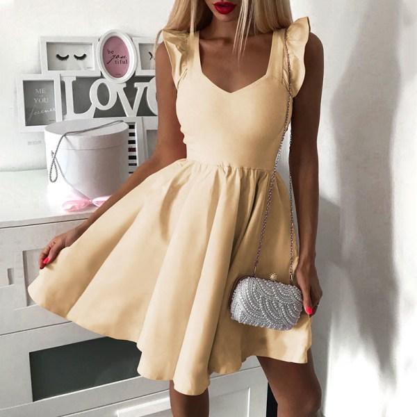 Lady V-ringad elastisk maskerad Party Ruffle Bag Dress