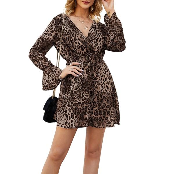 Lady V-neck Waist Band Sexy Leopard Dress Brown L