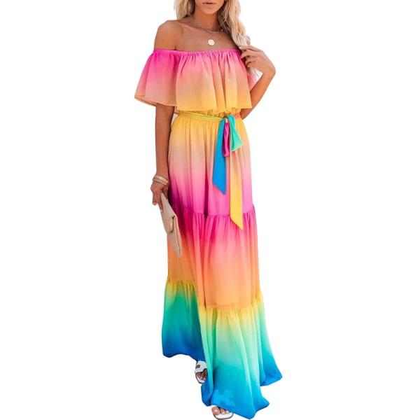 damens mode en axel ärmlös lutningsklänning lång kjol
