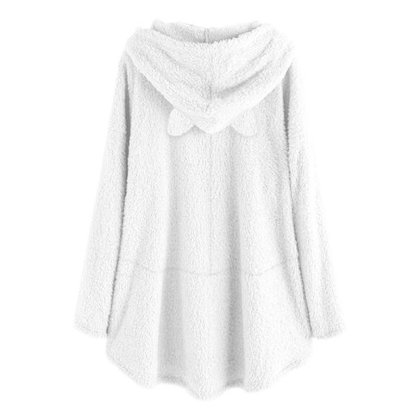 Stor storlek vinter söt örat Hoodie kvinnor fleece tröja