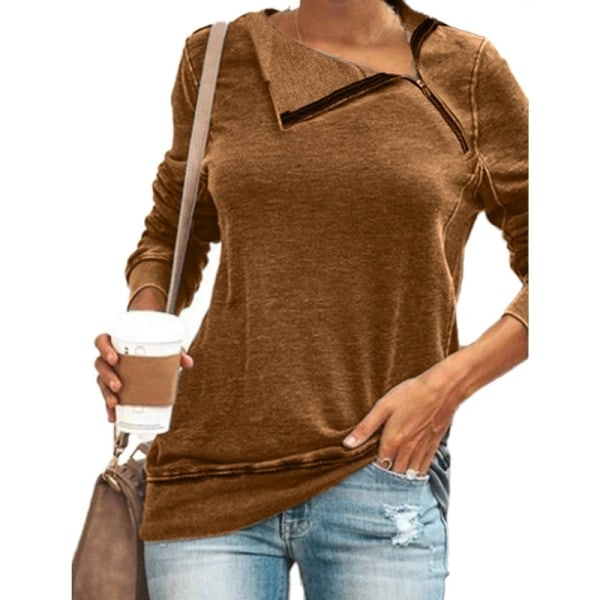 Loose Knit Skew Collar Zipper Tops Long