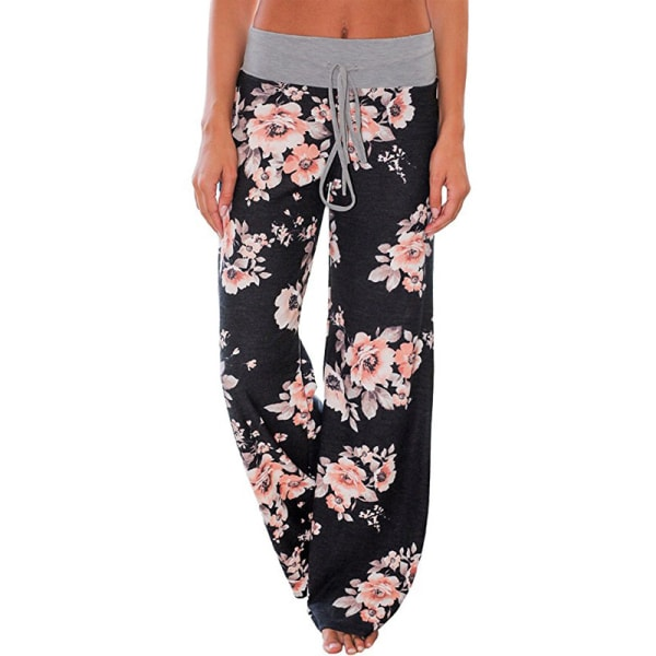 Loose yoga pants for women, floral casual beach pants svart L