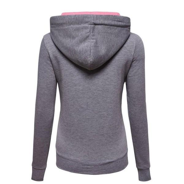 Luvjacka med huva med dragkedja för kvinnor, varm vinterjacka grå XL