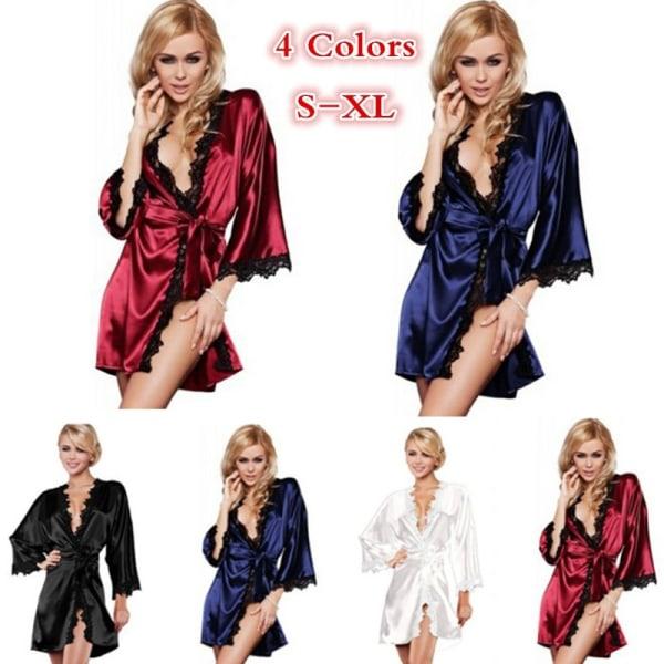 Luxury Women Silk Satin Kimono Sleepwear Sexig red XL