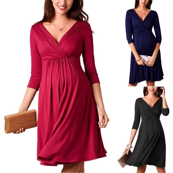 Maternity Breastfeeding Dresses Pregnant Women s navyblue M