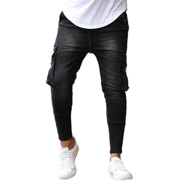 Men Cargo Skinny Jeans Slim Zip Pocket Denim Jegging Trouser Blue L