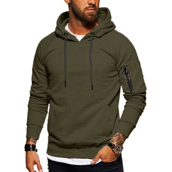 Män Casual Långärmade Hoodies Sport Fitness Tops Sweatshirt