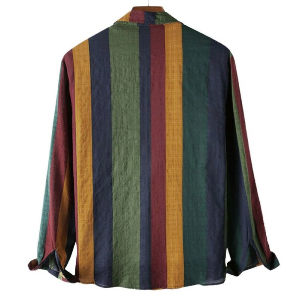 Herr Color Block Långärmade fickor Button Up Casual Tops Blus
