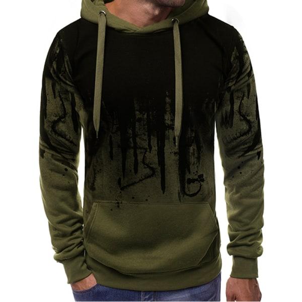 Men's Camouflage Hooded Sweatshirt Pullover Sweatshirt Army Green 3XL