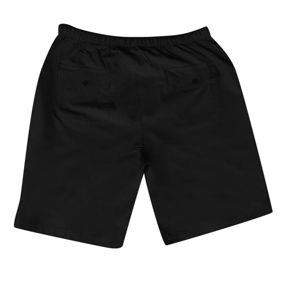 Herrfärgad shorts med bomull och linne i flera fickor black 5XL
