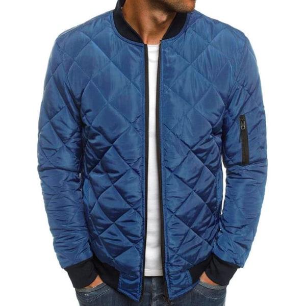Men's diamond stitched jacket corduroy collar stitch jacket Navy 2XL