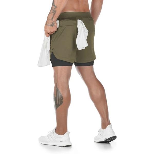 Löparbyxor för män avslappnad ficka med dubbla lager fitnessbyxor L army green L
