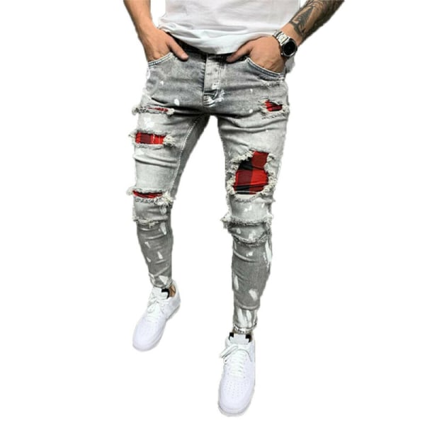 Mens Skinny Ripped Jeans Stretch Denim Pants Slim Fit Trousers Grey M