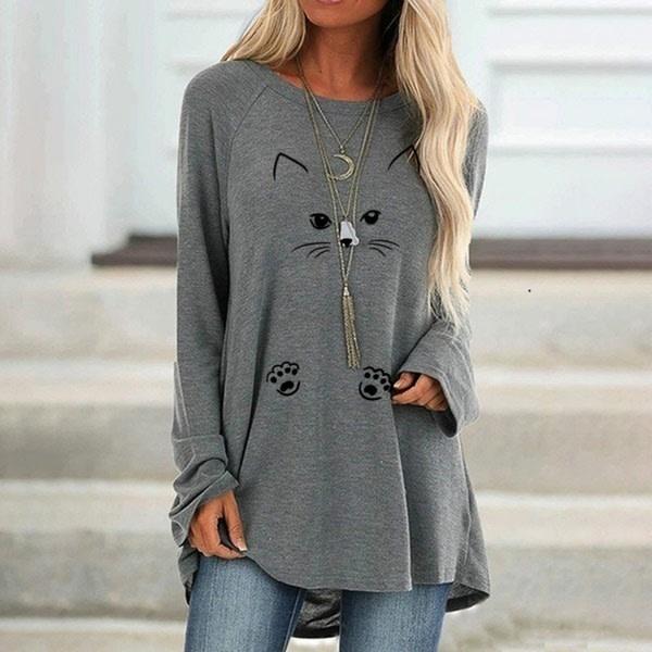 Plus Size Cat Print Lös långärmad T-shirt