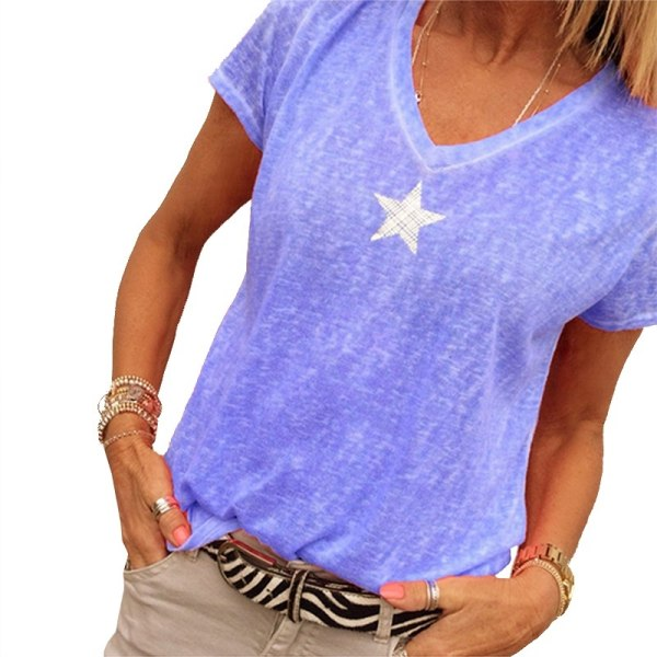 Plus Size S-5XL Summer T Shirt purple 2XL