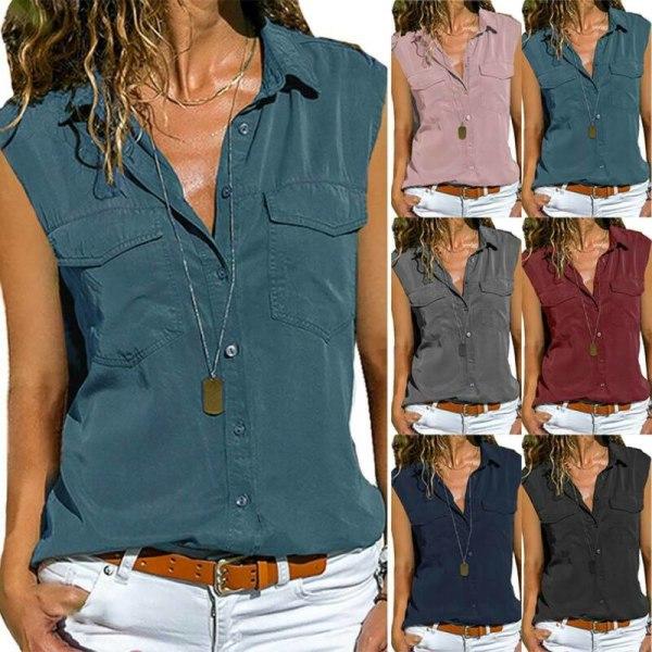 Plus Size Women Sleeveless Buttons T-Shirt Blouse Summer Casual Wine Red 3XL