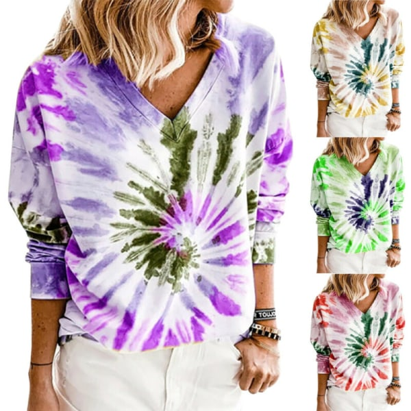 Plus Size Womens Long Sleeve V Neck Tie-dyed Gradient tops Purple XL