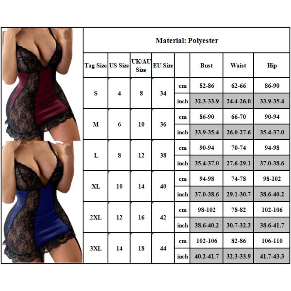 Plusstorlek sexig djup V-ringad klänning för kvinnor blå M
